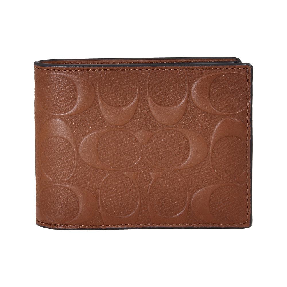 afcf667a5e Details about Coach Slim Billfold Men's Small Signature Leather Wallet  26003SAD