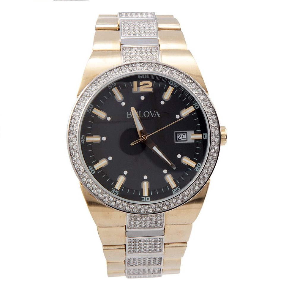 7bed0462ea0 Bulova Crystal Black Dial Stainless Steel Men s Watch 98B235 ...