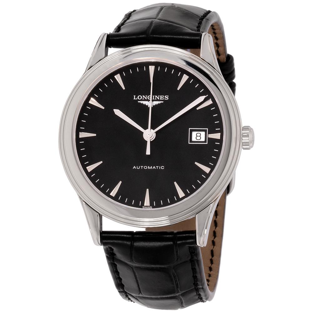 3e54d4b11d51a Details about Longines Flagship Black Dial Leather Strap Men s Watch  L48744522