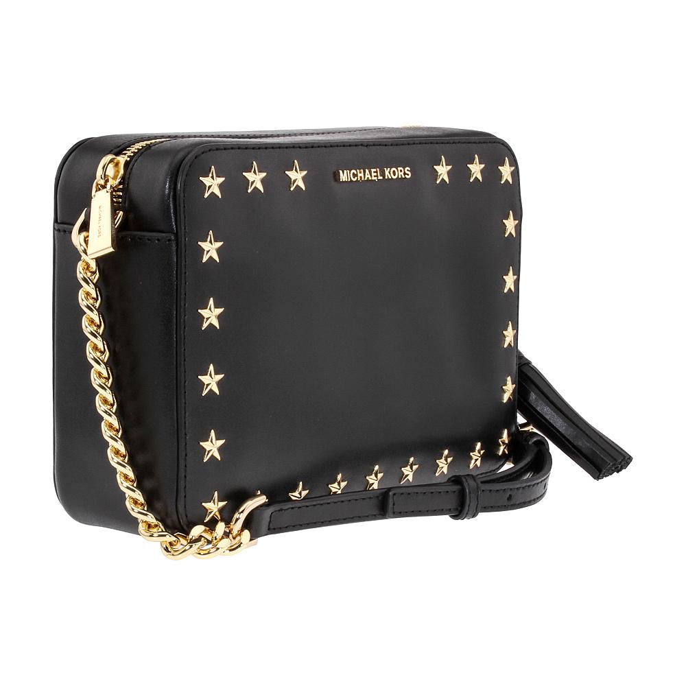 e20f23163825 Michael Kors Ginny Ladies Medium Black Leather Crossbody Bag 32F7GGNM2Y001