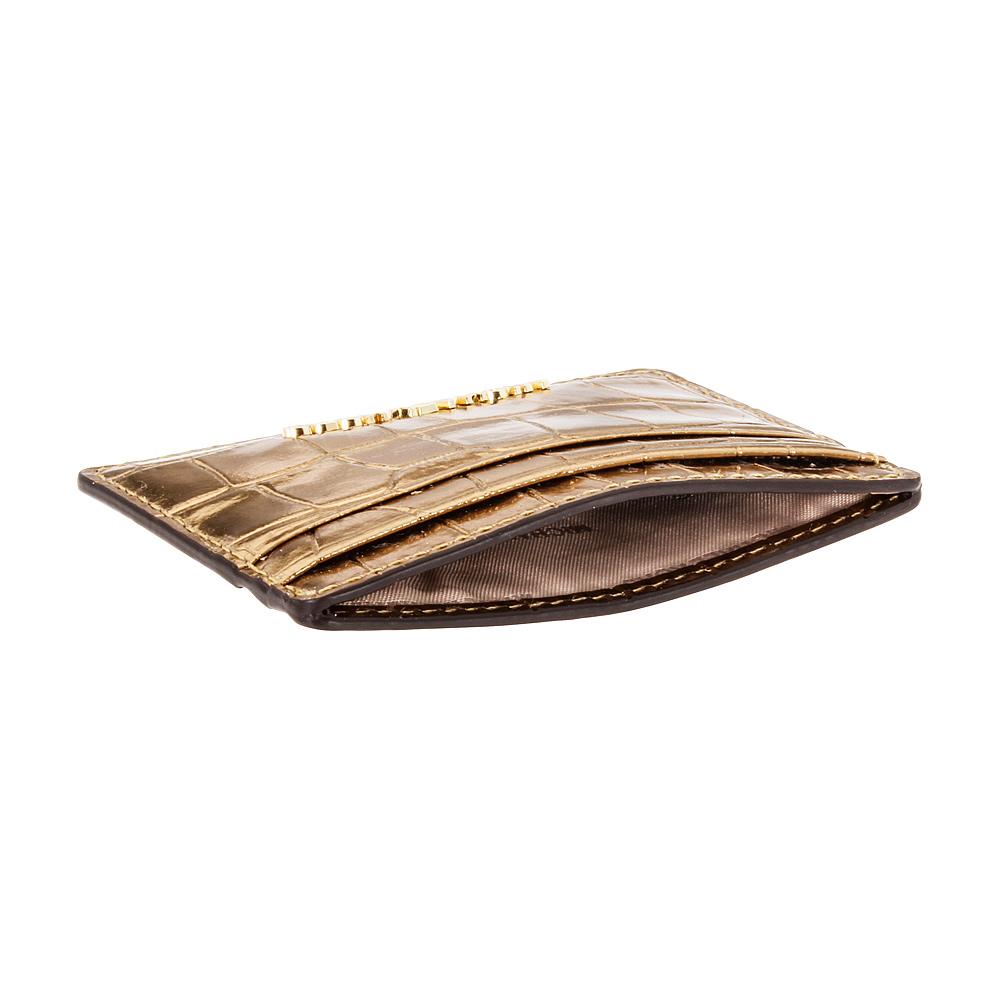 6cda21942cc4 Michael Kors Jet Set Travel Metallic Embossed Leather Card Holder  32F7MF6D0E710
