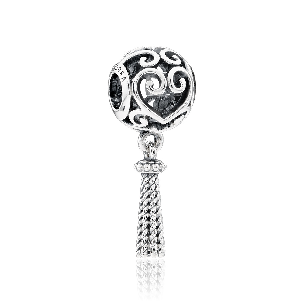 1e49ef31f Details about Pandora Enchanted Heart Tassel Sterling Silver Pendant Charm  797037