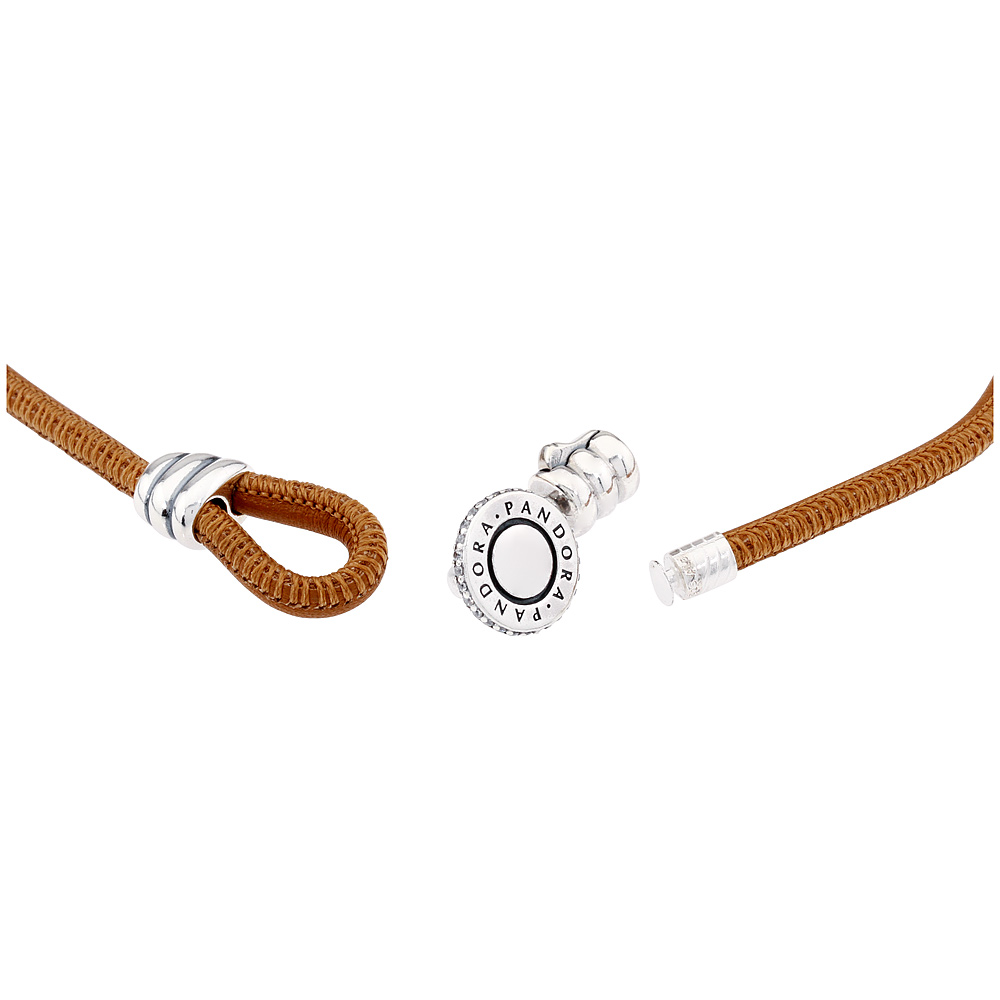 cee972faf Pandora Moments Golden Tan Double Leather Bracelet With Clear CZ 597194CGTD1