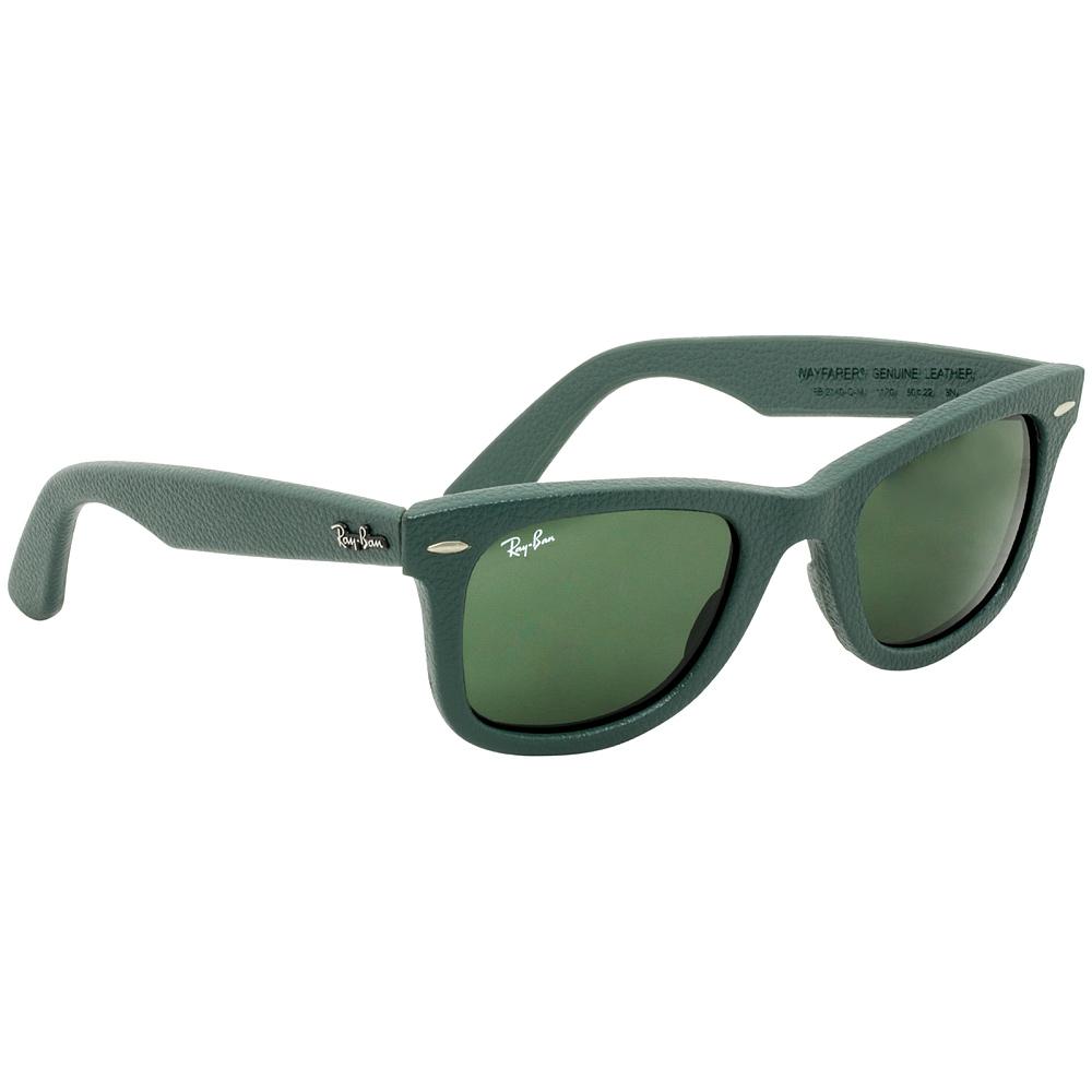 8655bd084d Rayban Wayfarer Leather Frame Green Classic Unisex Sunglasses  0RB2140QM117050