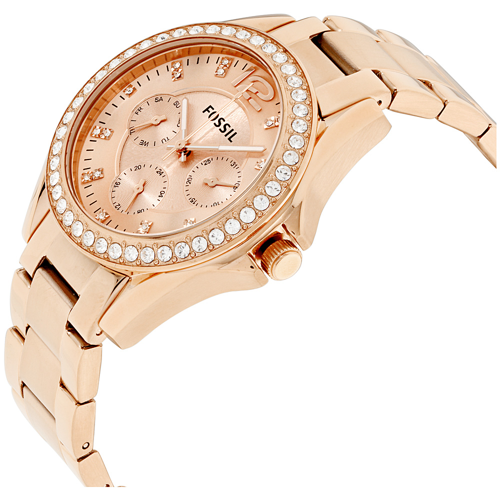 b14e09edd4e4 Fossil Riley Rose Gold Dial Stainless Steel Ladies Watch Es2811 ...